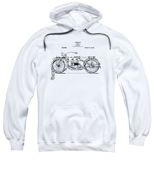Vintage Harley-davidson Motorcycle 1919 Patent Artwork Sweatshirt by Nikki Smith
