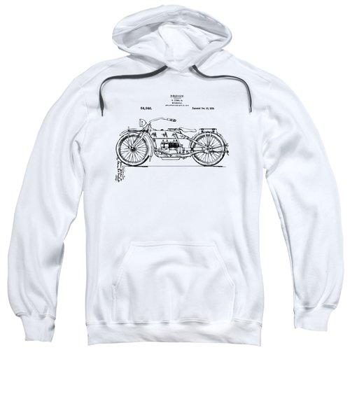 Vintage Harley-davidson Motorcycle 1919 Patent Artwork Sweatshirt by Nikki Smith