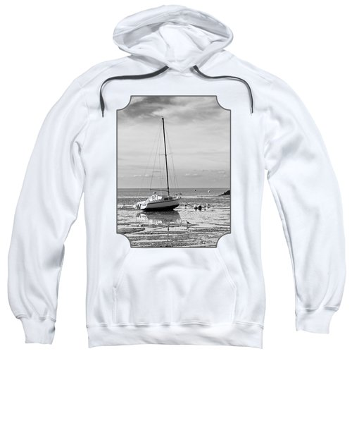 Waiting For High Tide Black And White Sweatshirt by Gill Billington