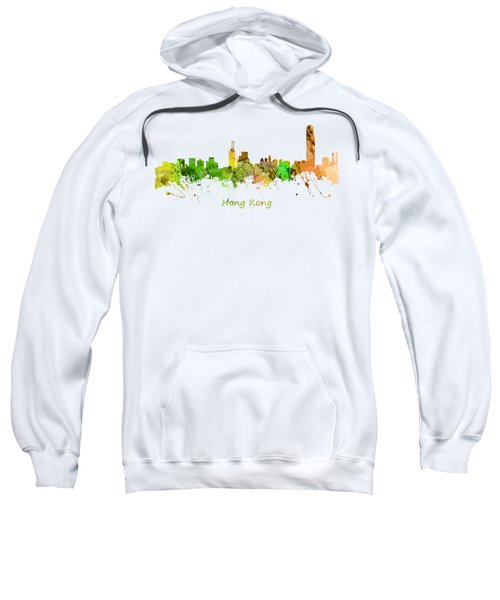 Watercolor Skyline Of Hong Kong Sweatshirt by Chris Smith
