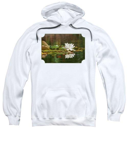 White Water Lily With Damselflies Sweatshirt by Gill Billington