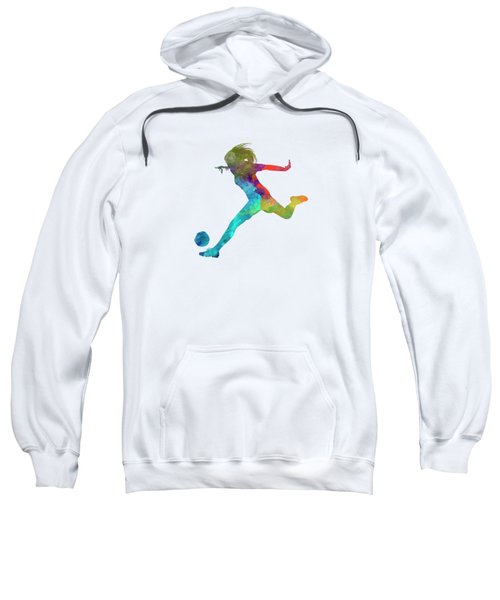 Woman Soccer Player 01 In Watercolor Sweatshirt by Pablo Romero
