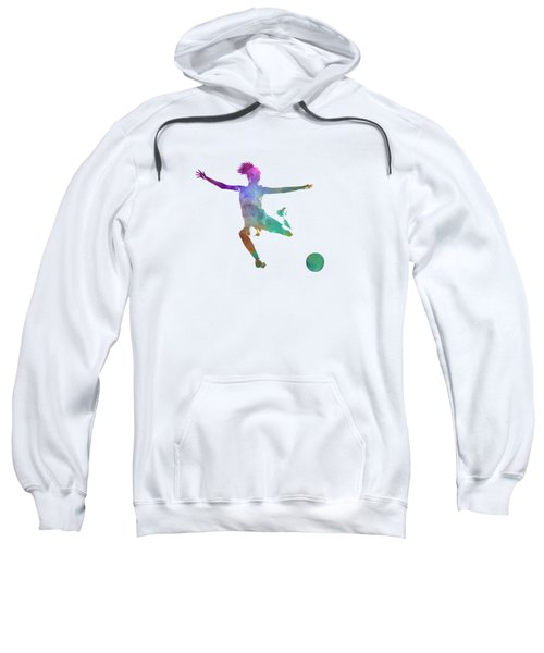 Woman Soccer Player 03 In Watercolor Sweatshirt by Pablo Romero