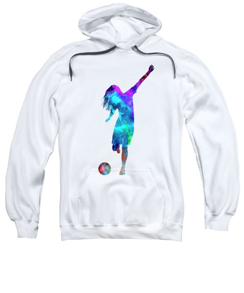 Woman Soccer Player 05 In Watercolor Sweatshirt by Pablo Romero