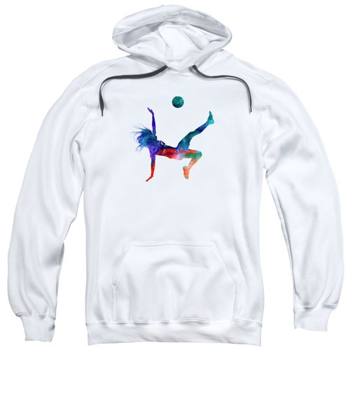 Woman Soccer Player 08 In Watercolor Sweatshirt by Pablo Romero