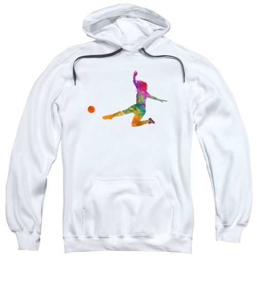 Woman Soccer Player 11 In Watercolor Sweatshirt by Pablo Romero