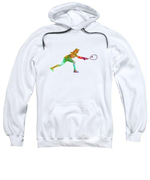 Woman Tennis Player Sadness 02 In Watercolor Sweatshirt by Pablo Romero
