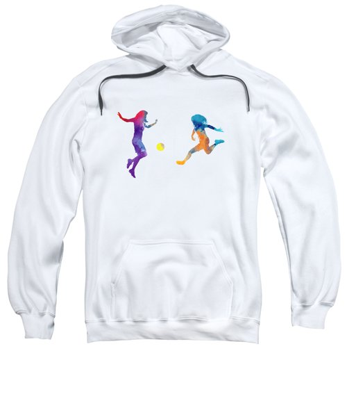 Women Soccer Players 01 In Watercolor Sweatshirt by Pablo Romero