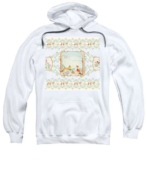 Woodland Fairy Tale - Aqua Blue Forest Gathering Of Woodland Animals Sweatshirt by Audrey Jeanne Roberts