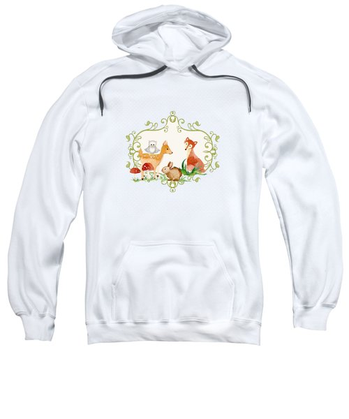 Woodland Fairytale - Animals Deer Owl Fox Bunny N Mushrooms Sweatshirt by Audrey Jeanne Roberts