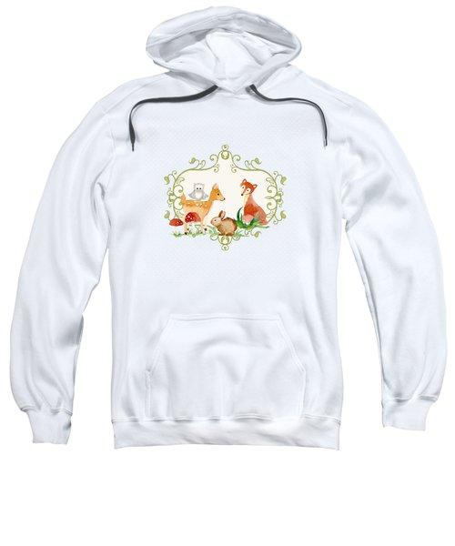 Woodland Fairytale - Grey Animals Deer Owl Fox Bunny N Mushrooms Sweatshirt by Audrey Jeanne Roberts