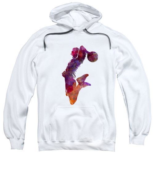 Young Woman Basketball Player 01 In Watercolor Sweatshirt by Pablo Romero