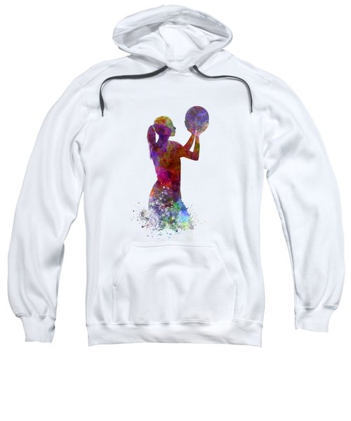 Young Woman Basketball Player 03 In Watercolor Sweatshirt by Pablo Romero