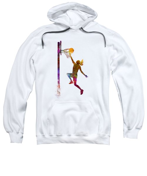 Young Woman Basketball Player 04 In Watercolor Sweatshirt by Pablo Romero