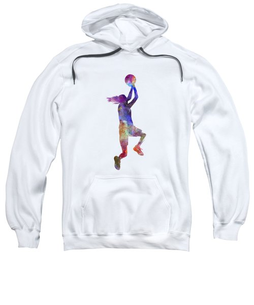 Young Woman Basketball Player 05 In Watercolor Sweatshirt by Pablo Romero
