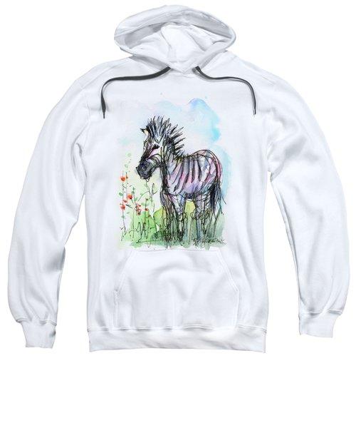 Zebra Painting Watercolor Sketch Sweatshirt by Olga Shvartsur