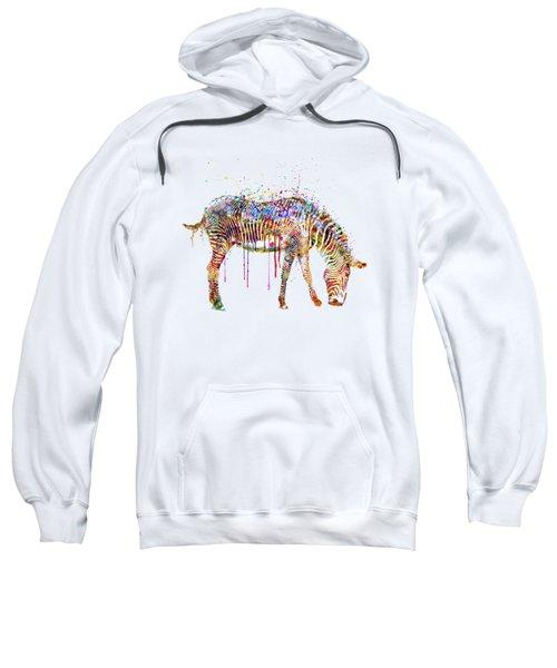Zebra Watercolor Painting Sweatshirt by Marian Voicu