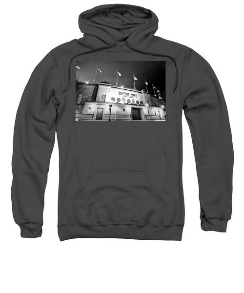 0879 Soldier Field Black And White Sweatshirt by Steve Sturgill