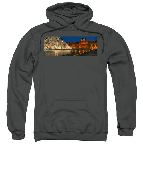 Pyramid At A Museum, Louvre Pyramid Sweatshirt by Panoramic Images