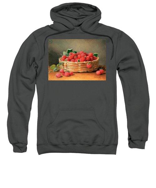 A Still Life Of Raspberries In A Wicker Basket  Sweatshirt by William B Hough