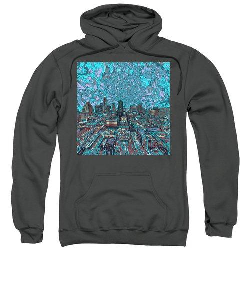 Austin Texas Vintage Panorama 4 Sweatshirt by Bekim Art