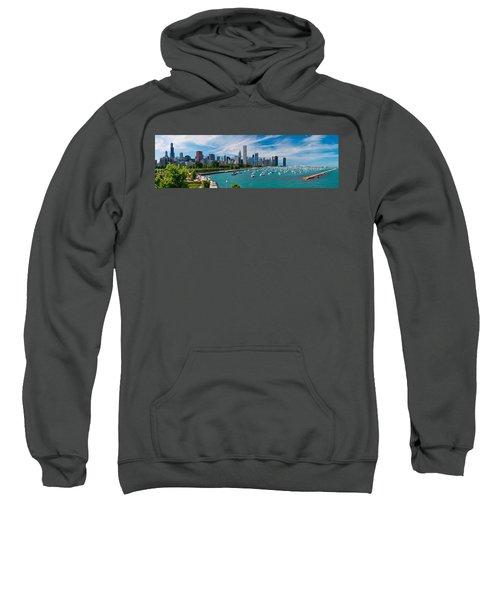 Chicago Skyline Daytime Panoramic Sweatshirt by Adam Romanowicz