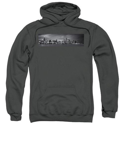 Chicago Skyline At Night Black And White Panoramic Sweatshirt by Adam Romanowicz