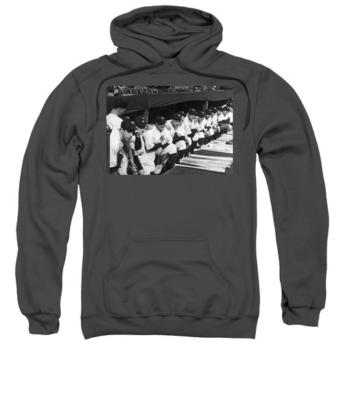 Dimaggio In Yankee Dugout Sweatshirt by Underwood Archives