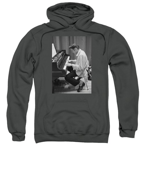 Elvis Presley On Piano While Waiting For A Show To Start 1956 Sweatshirt by The Phillip Harrington Collection