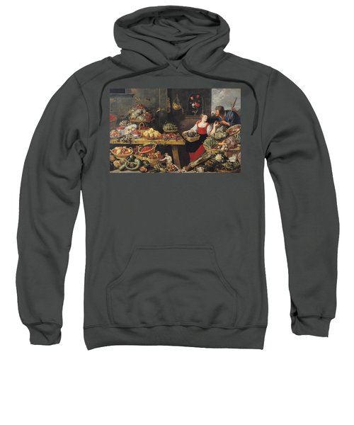 Fruit And Vegetable Market Oil On Canvas Sweatshirt by Frans Snyders