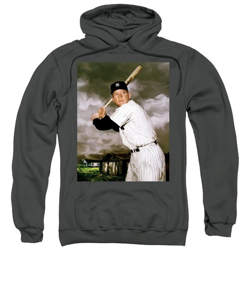 American Fabric   Mickey Mantle Sweatshirt by Iconic Images Art Gallery David Pucciarelli