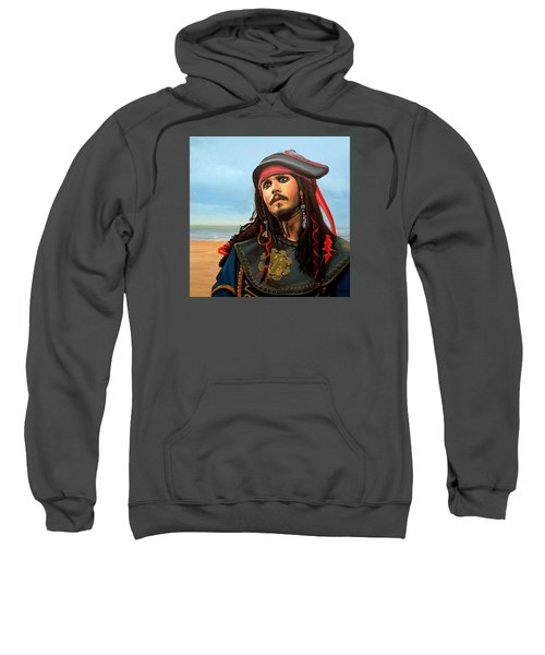 Johnny Depp As Jack Sparrow Sweatshirt by Paul Meijering