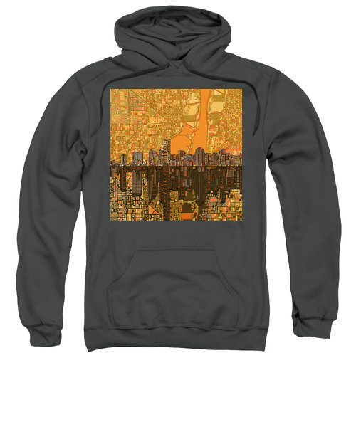 Miami Skyline Abstract 5 Sweatshirt by Bekim Art