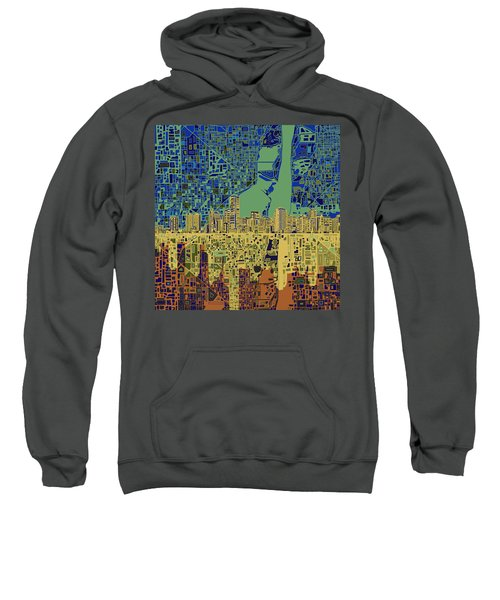 Miami Skyline Abstract 7 Sweatshirt by Bekim Art