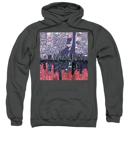 Miami Skyline Abstract Sweatshirt by Bekim Art