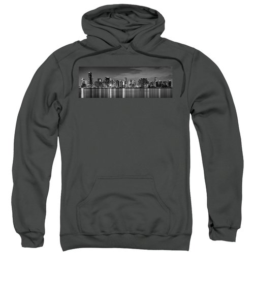 Miami Skyline At Dusk Black And White Bw Panorama Sweatshirt by Jon Holiday
