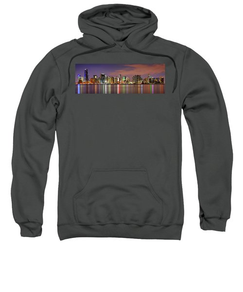 Miami Skyline At Dusk Sunset Panorama Sweatshirt by Jon Holiday