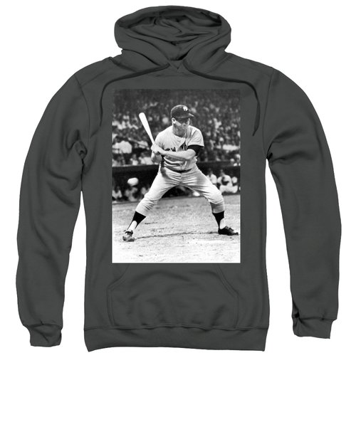Mickey Mantle At Bat Sweatshirt by Underwood Archives