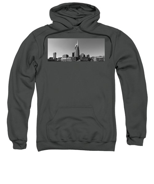 Nashville Tennessee Skyline Black And White Sweatshirt by Dan Sproul