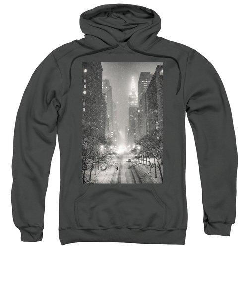 New York City - Winter Night Overlooking The Chrysler Building Sweatshirt by Vivienne Gucwa