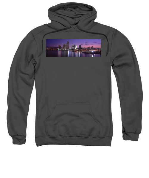 Night Skyline Miami Fl Usa Sweatshirt by Panoramic Images