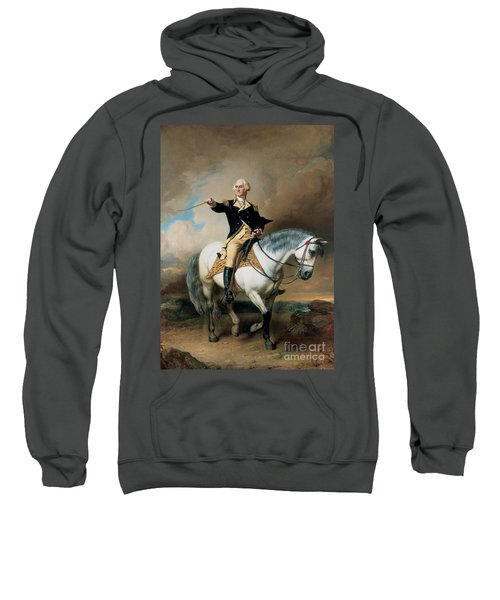 Portrait Of George Washington Taking The Salute At Trenton Sweatshirt by John Faed