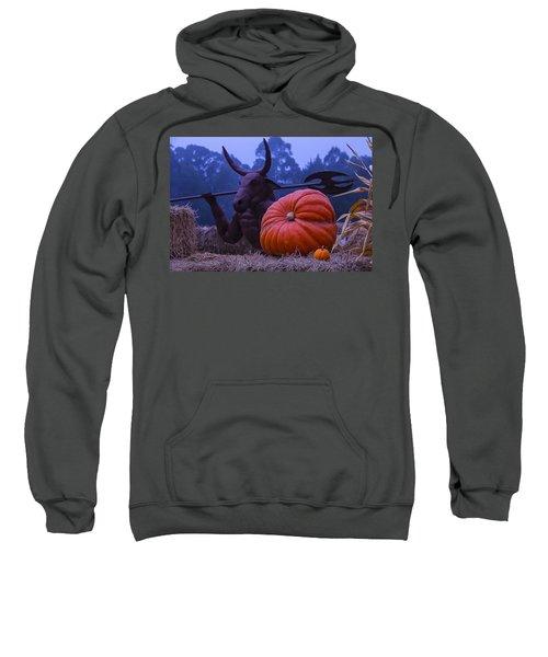 Pumpkin And Minotaur Sweatshirt by Garry Gay