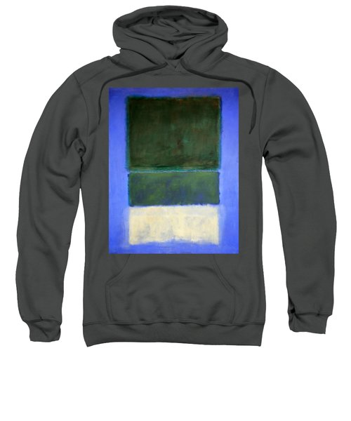Rothko's No. 14 -- White And Greens In Blue Sweatshirt by Cora Wandel
