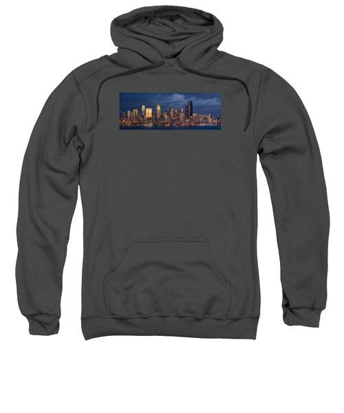 Seattle Skyline Sunset Detail Sweatshirt by Mike Reid