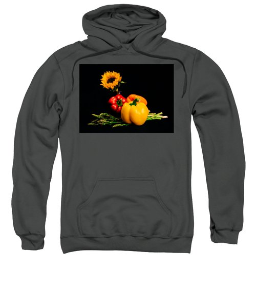 Still Life Peppers Asparagus Sunflower Sweatshirt by Jon Woodhams
