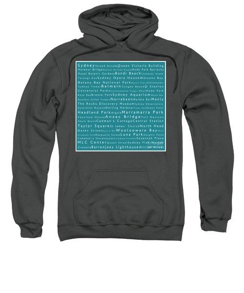 Sydney In Words Teal Sweatshirt by Sabine Jacobs