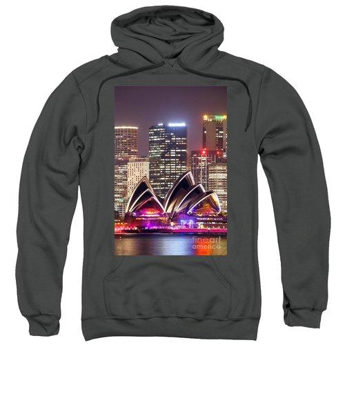 Sydney Skyline At Night With Opera House - Australia Sweatshirt by Matteo Colombo
