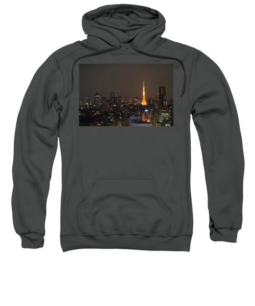 Tokyo Skyline At Night With Tokyo Tower Sweatshirt by Jeff at JSJ Photography