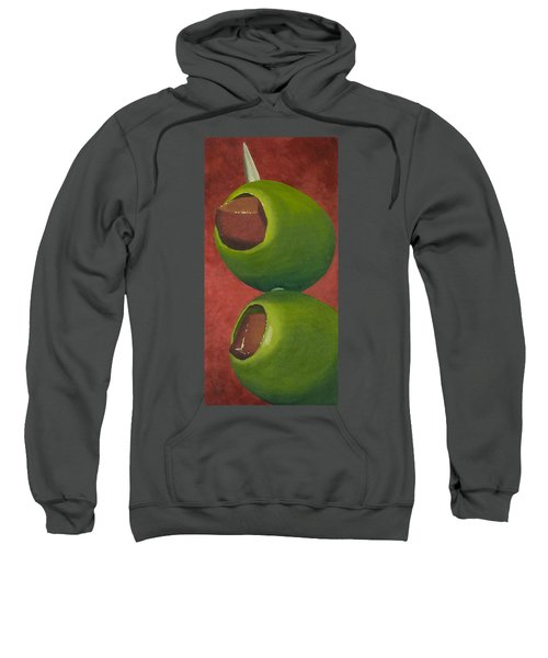 Two Olives In Search Of A Bloody Mary Sweatshirt by Garry McMichael